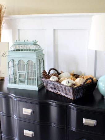 blue and white fall decor