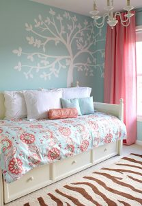 blue pink girls room