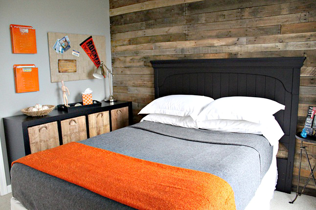 gray orange bedroom