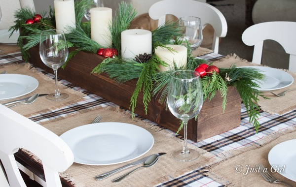 Build a table centerpiece for Christmas
