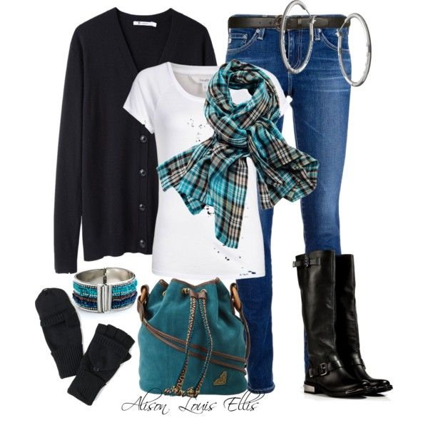 Blue gray outfit