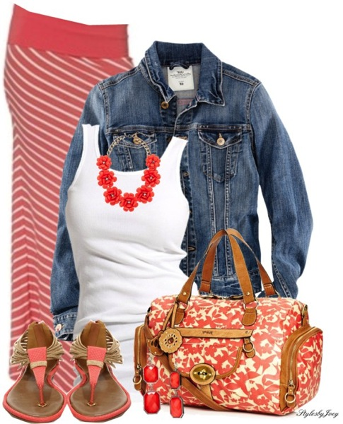 Denim and coral outfit