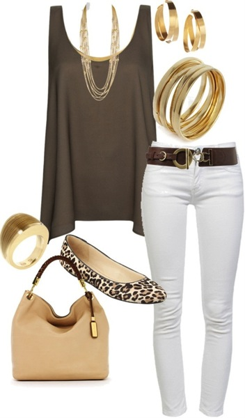 Brown white summer outfit