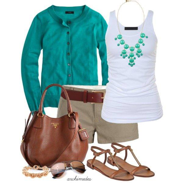 Green white tan outfit