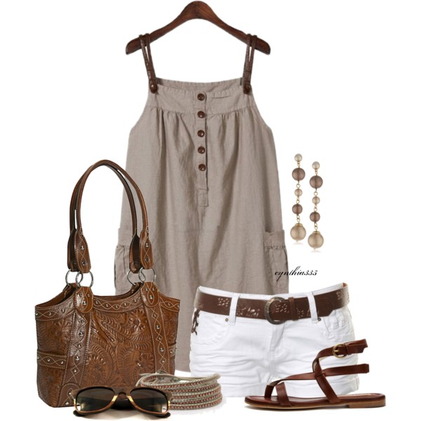 Khaki white leather outfit