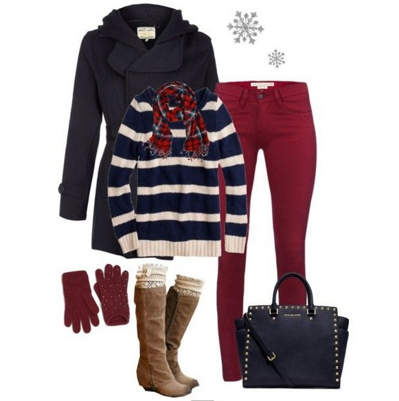 Warm And Cozy Outfit Combinations For The Winter striped sweater red skinnies and knee length boots