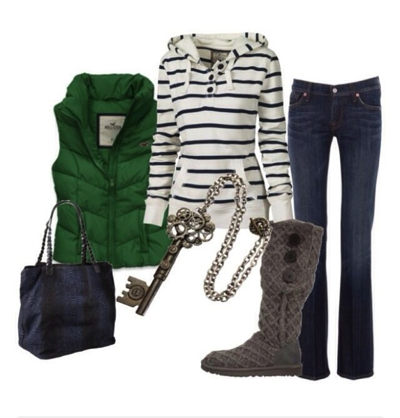 Green navy outfit