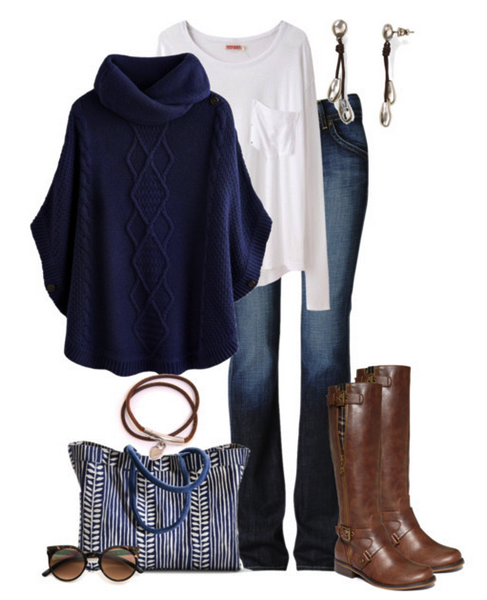 navy brown outfit