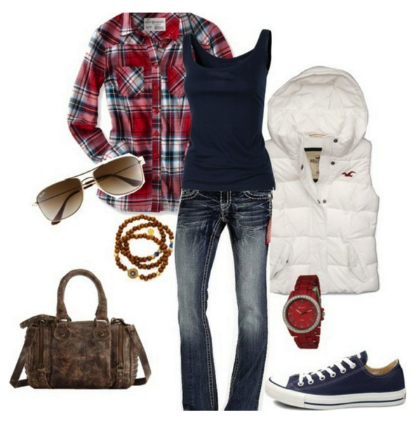 Navy red plaid