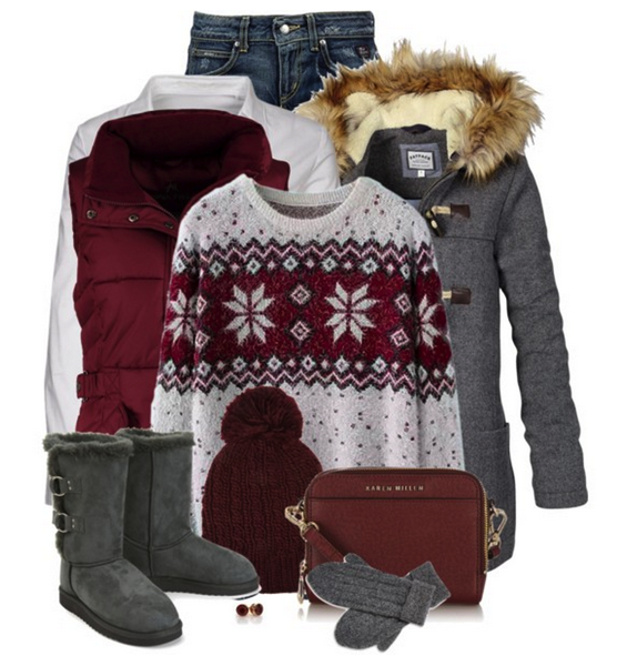 Burgundy and gray outfit