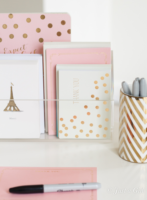 pink gold stationery