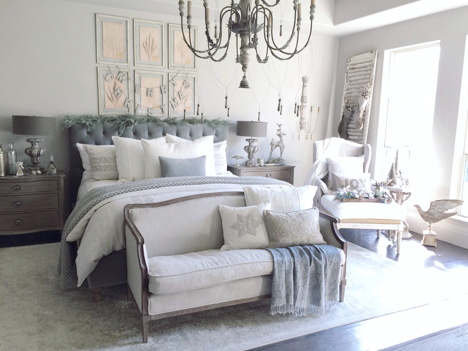 gray velvet bedroom