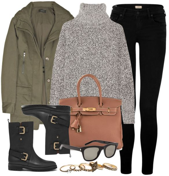 black and olive outfit