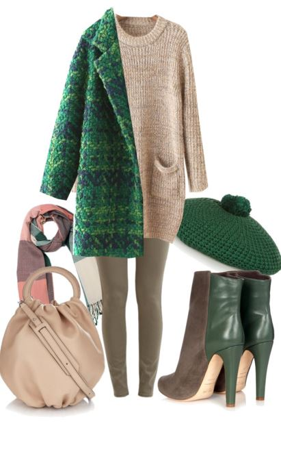 green and tan outfit