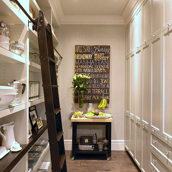 long-kitchen-pantry-floor-to-ceiling-built-in-shelves-ladder-on-rails