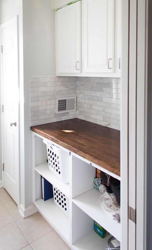 white marble laundry room