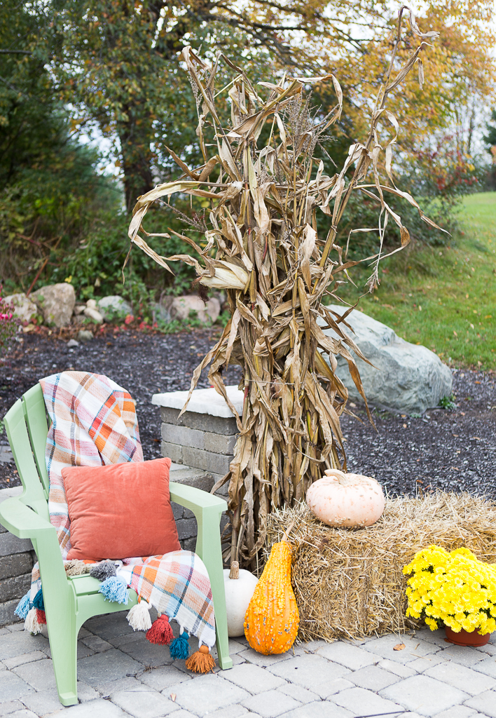 decorate with corn stalks