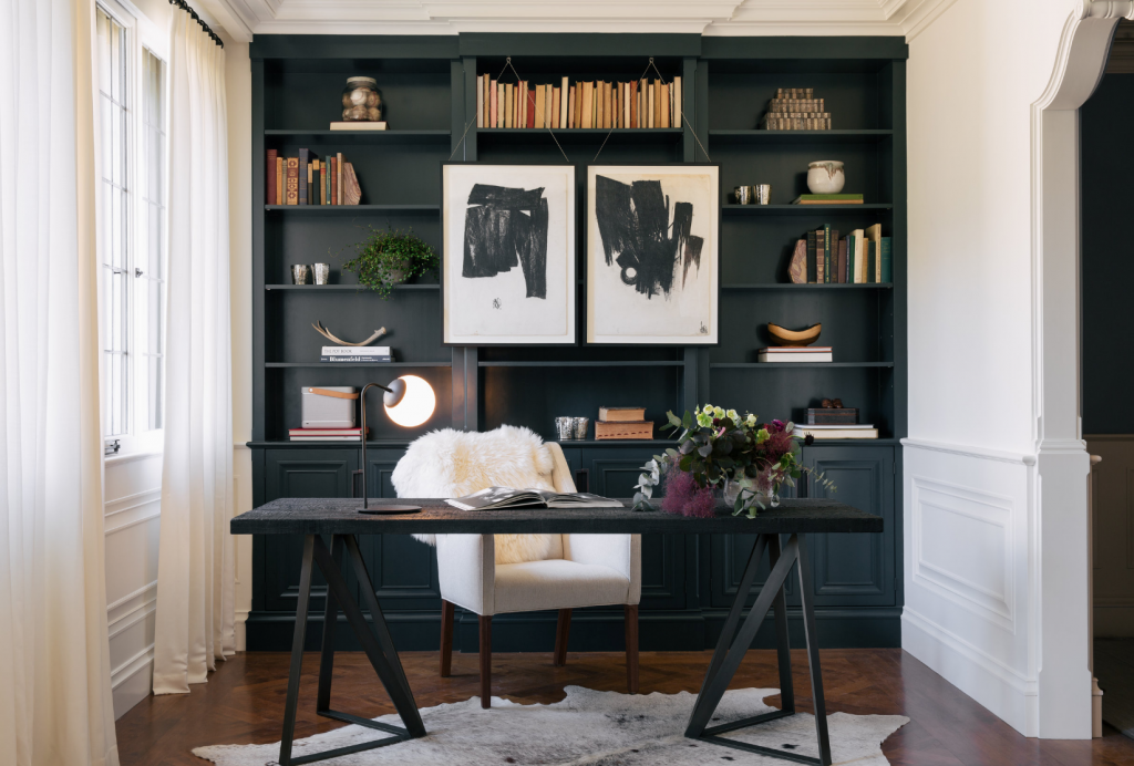 black white home office