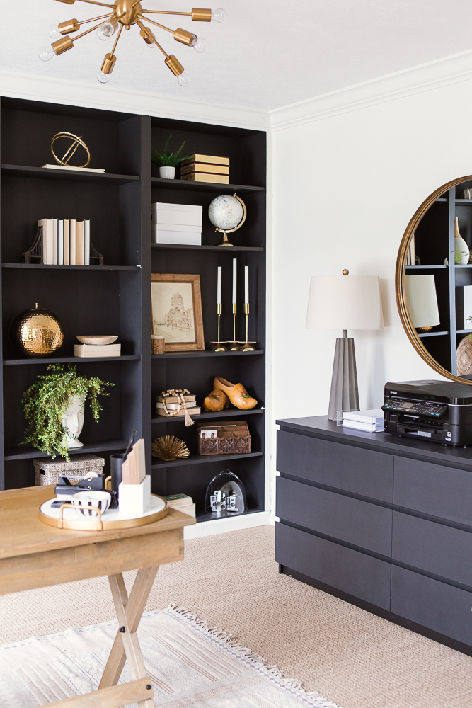 home office black shelves