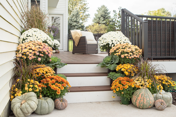 ombre orange mums on porch for fall