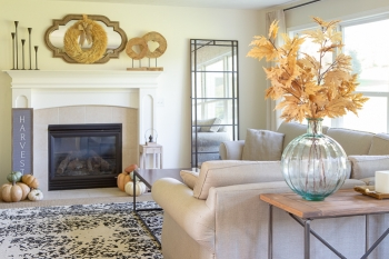 fall decor in family room