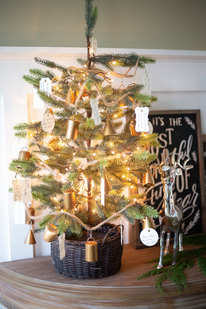 Mini Christmas tree with bell garland